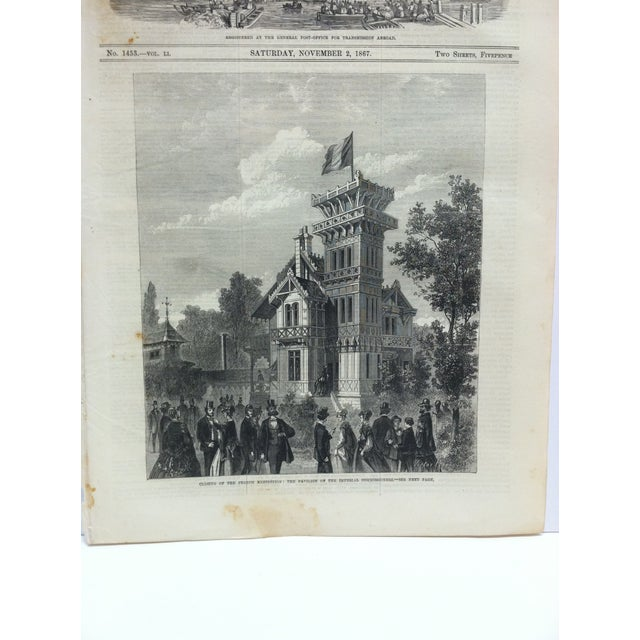 "This is an Antique The Illustrated London News Print that is titled ""Closing of the French Exhibition: The Pavilion of the..."