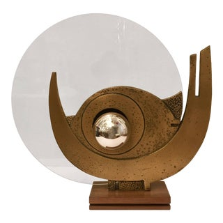 1960s Giuseppe Calonaci Bronze Sculpture Table Lamp For Sale