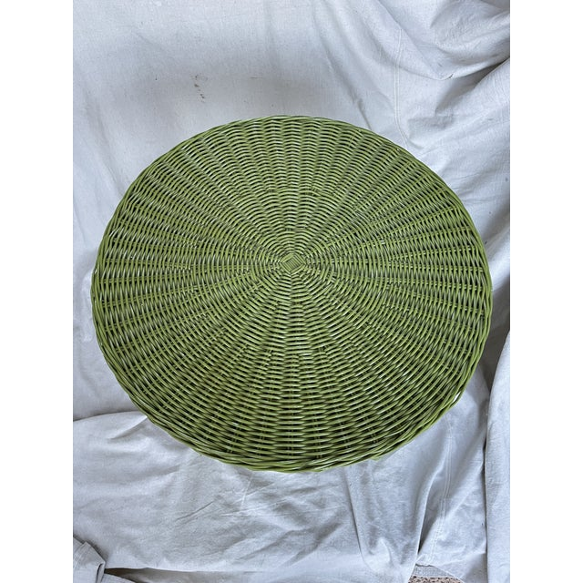Vintage Avocado Green Wicker Side Table For Sale - Image 4 of 8