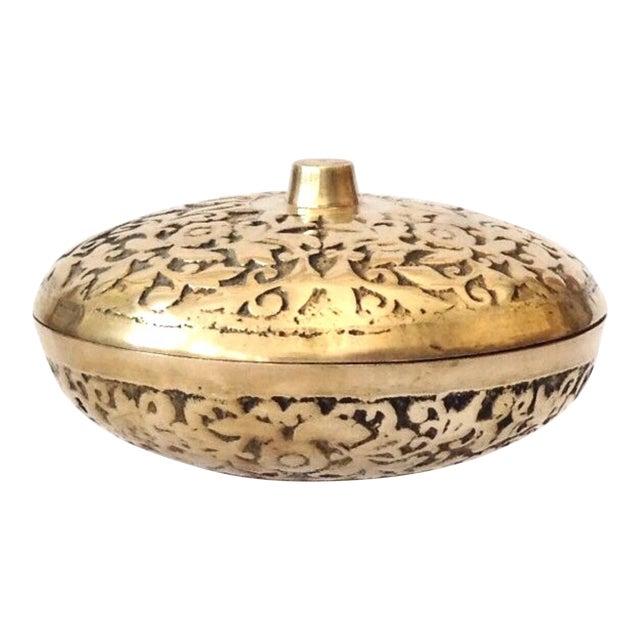 Korean Etched Lidded Brass Bowl For Sale