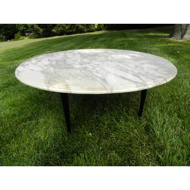 Vintage Mid-Century White Marble Coffee Table - Image 2 of 8