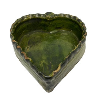 Mid 19th Century Green Glaze Redware Folk Art Pottery Heart Dish Preview