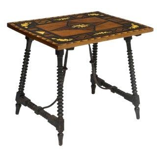 Spanish Bone Inlaid Spool Leg Side Table For Sale