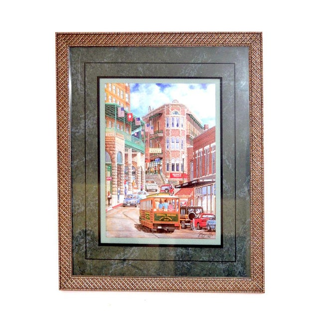 """1993 """"Street Scene"""" Framed and Matted Color Print Signed Johnny Ray For Sale - Image 11 of 11"""