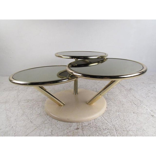 Unique Mid-Century Brass and Glass Swivel Top Coffee Table For Sale - Image 5 of 10
