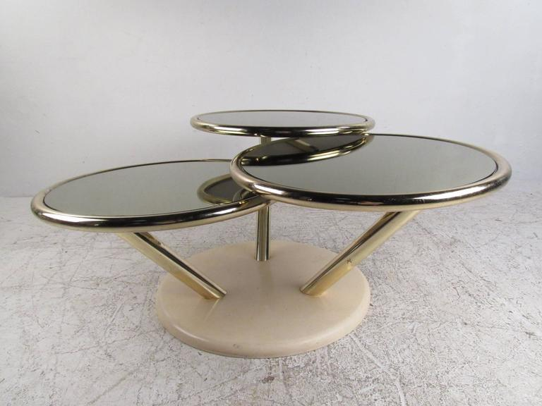 Unique Mid Century Brass And Glass Swivel Top Coffee Table For Sale   Image  5