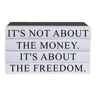 It's About Freedom Quote Book Stack - 4 Pieces For Sale