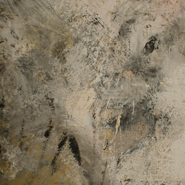 Untitled, Black in sea of white - Oil on Canvas , signed lower right - Unframed