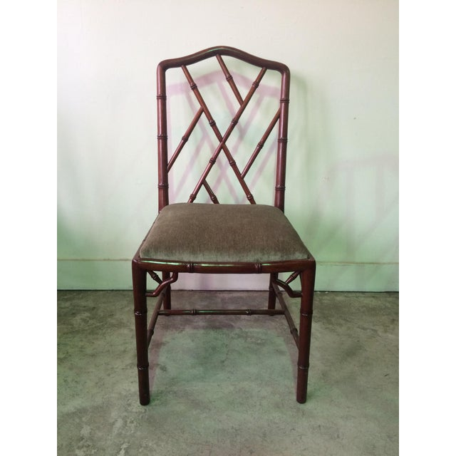Thomas Chippendale 1960s Vintage Rosewood Chinese Chippendale Style Faux Bamboo Dining Chairs- Set of 8 For Sale - Image 4 of 13