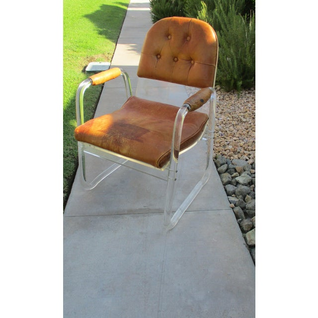 Hill Manuf Lucite and Leather Club Chair - Custom Piece For Sale - Image 12 of 13
