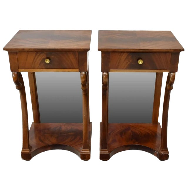 Antique French Empire Bookmatched Mahogany Swan Head Nightstand or Side Table - a Pair For Sale
