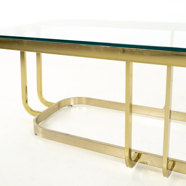 Mid 20th Century Milo Baughman Style Mid Century Brass and Glass Coffee Table For Sale - Image 5 of 12