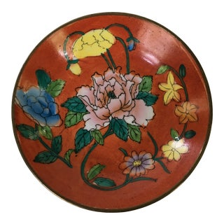Vintage Chinese Brass Encased Hand Painted Floral Bowl / Catchall For Sale