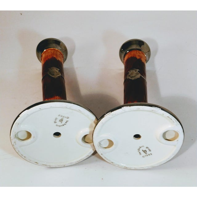 Boho Chic Vintage Haldon Candlesticks Pottery Faux Wood Silver Crest Candle Holder -a Pair For Sale - Image 3 of 7