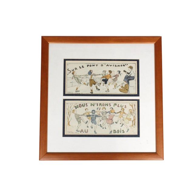 "Framed Antique French Nursery Rhyme Lithograph ""Sur Le Pont D'Avignon"" For Sale"