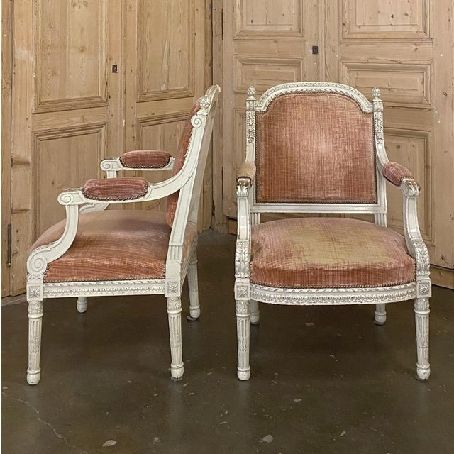 Pair 19th Century French Louis XVI Painted Armchairs ~ Fauteuils For Sale - Image 4 of 13
