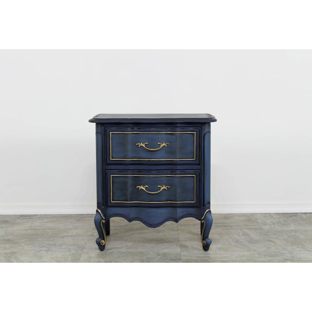 """Vintage pair of French provincial nightstands painted in blue with gold painted accents Dimensions; 24"""" Width x 15"""" Depth..."""