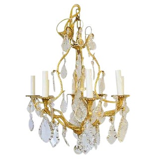 French Crystal Bird Cage-Style Chandelier For Sale