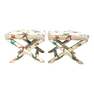 Fully Upholstered X-Bench Ottomans by Sherrill- a Pair For Sale