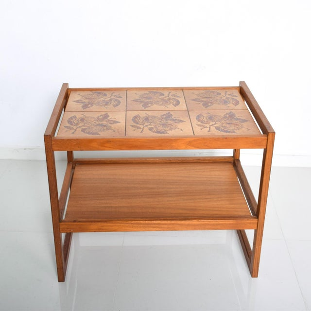 Mid-Century Danish Modern Teak and Tiles Service Table Bakery Bar Trolley For Sale - Image 9 of 12