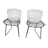 Image of 1960s Vintage Black Bertoia Child-Sized Chairs for Knoll- A Pair For Sale