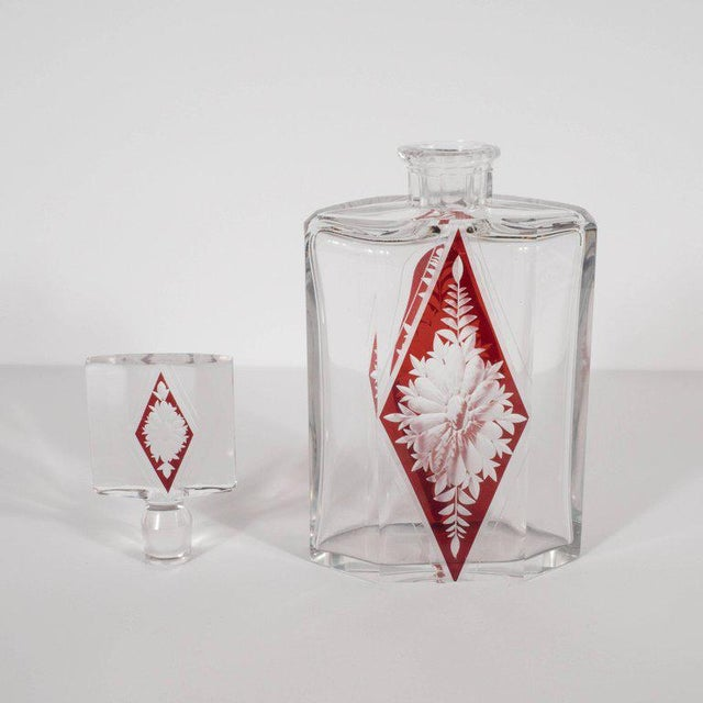Art Deco Czech Crystal Decanter with Stained Cardinal Red Glass and Floral Motif For Sale - Image 4 of 10