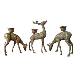Vintage Brass Reindeer Candle Holders - Set of 3