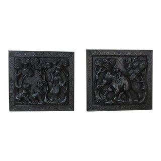 Pair 19th Century Thai Hand Carved Panels For Sale
