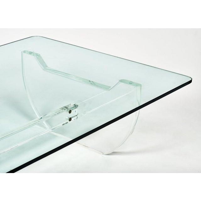 French Modernist Lucite Coffee Table For Sale - Image 4 of 10