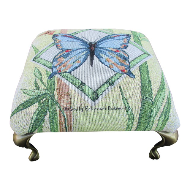 Butterfly Print Footstool With Brass Cabriole Legs For Sale