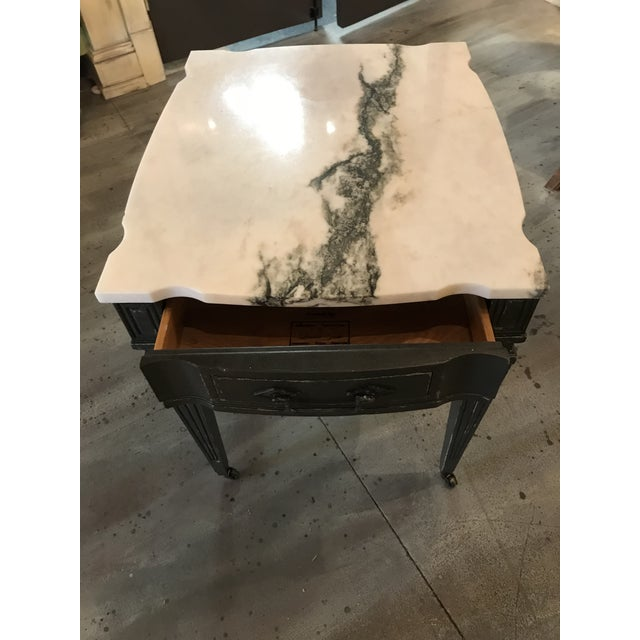 Weiman White & Black Marble Top Vintage Side Tables -- A Pair - Image 8 of 11