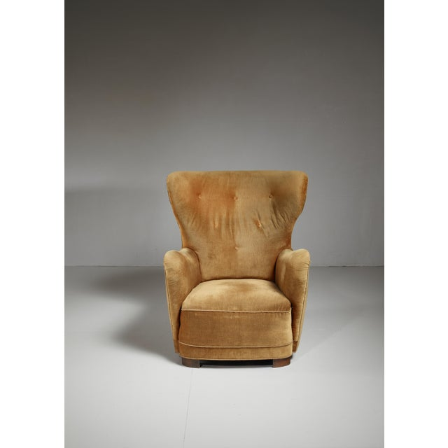 Mogens Lassen style lounge chair with velour upholstery, Denmark, 1940s For Sale - Image 4 of 6