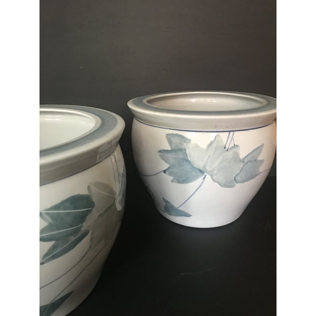 Pair of Chinese Blue & White Ceramic Leaf Planters For Sale - Image 4 of 13