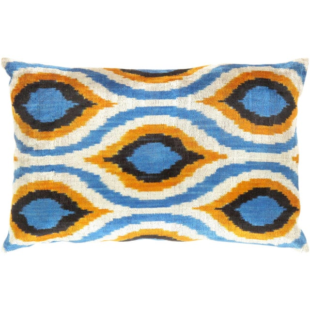 Boho Chic Blue, Yellow & White Silk Velvet Ikat Pillow For Sale - Image 3 of 3