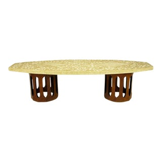 Harvey Probber Terrazzo & Mahogany Double Dodecagon Coffee Table For Sale