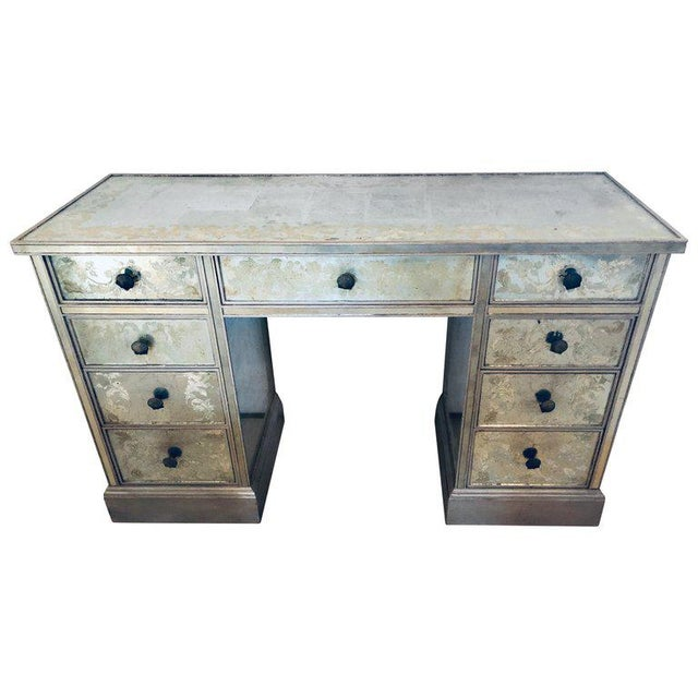 Art Deco Era Mirrored Reversed Paint Decorated Églomisé Desk or Vanity For Sale - Image 13 of 13