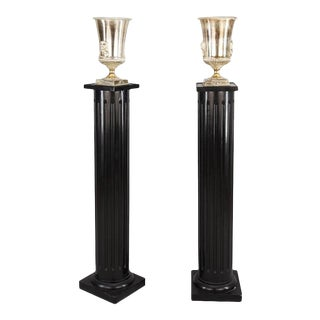 One Pair of Hollywood Regency Ebonized Fluted Columns With Silver Plate Uplight For Sale