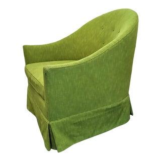 Upholstered Vintage Barrel-Back Chair For Sale