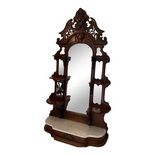 Antique Victorian Eastlake Walnut With Marble Etagere For Sale
