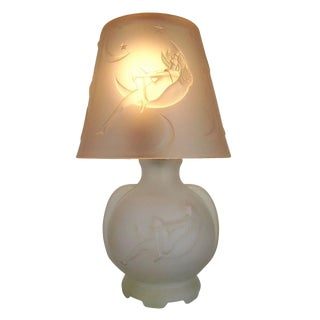 Frosted Glass Crescent Moon Boudoir Lamp, circa 1920 For Sale