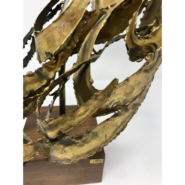 Gold 1960s Brutalist Bijan Brass Abstract Sculpture For Sale - Image 8 of 12