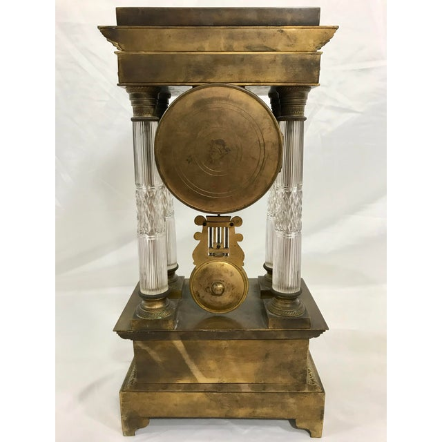 Cristalleries De Baccarat Baccarat and Bronze French Empire Mantle Clock For Sale - Image 4 of 7