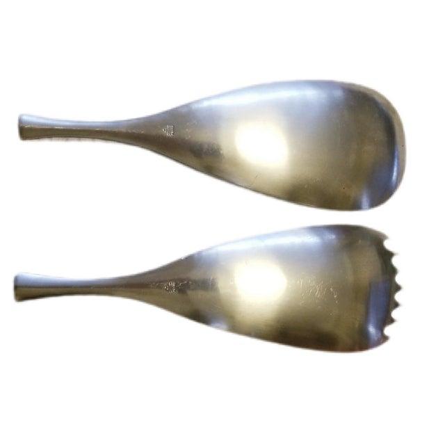 Vintage Dansk Quistgaard Odin Germany Stainless Serving Salad Spoon Fork Set - a Set of 2 For Sale - Image 10 of 13