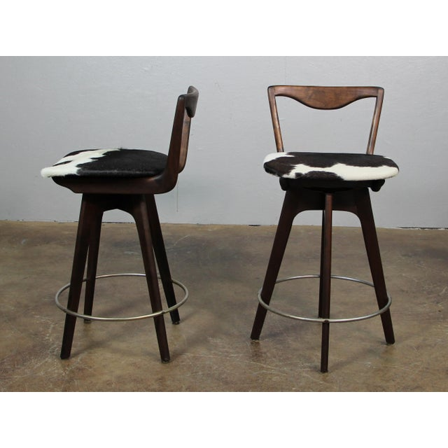 Mid 20th Century Mid Century Danish Swivel Bar Stools- A Pair For Sale - Image 5 of 8