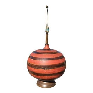 Large Vintage Burnt Orange and Brown Glaze Ceramic Orb Lamp For Sale