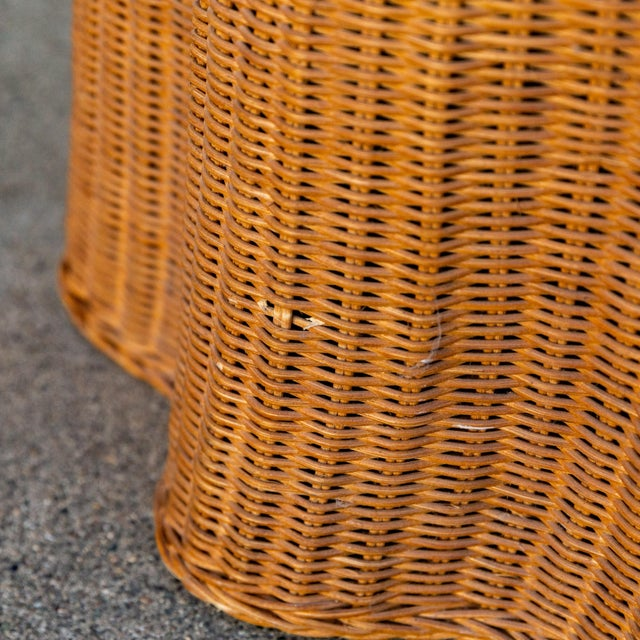 1970s Boho Chic Trompe l'Oeil Rattan Draped Wicker Ghost Entryway Table For Sale In Sacramento - Image 6 of 9