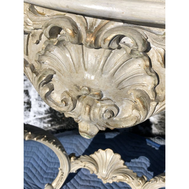 French Louis XV Style Relief Carved Antiqued Ivory Painted Parcel-Gilt Console Table For Sale - Image 3 of 12