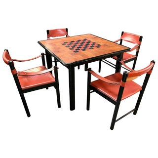 Italian Leather Game Dining Table Set With Black Chairs in Brown Leather, 1960s For Sale