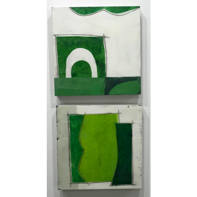 "Contemporary Gina Cochran ""Perceptions No. 26"" Encaustic Collage Painting - Emerald & Peridot For Sale - Image 3 of 5"