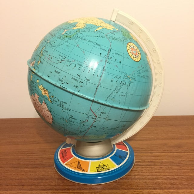 Vintage Ohio Art Tin Lithograph Metal Globe - Image 4 of 5
